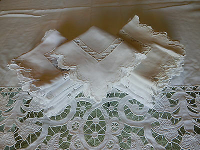 Unique Antique Pale Ivory Colored 12 Matching Table Napkins