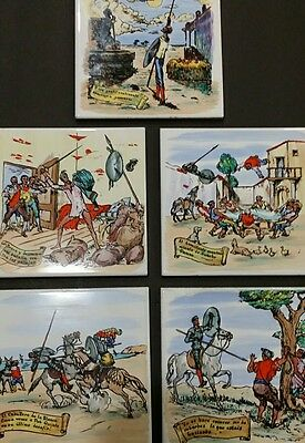 A Lot Of 5 Tiles Spanish hand painted Spain Don Quixote pictorial tile