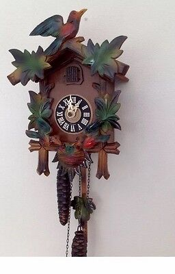 "Antique German 2 Weights Driven Carved Wood Case Cuckoo Clock GWO 11""L 8""W"