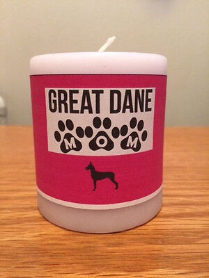 """""""Great Dane Mom"""" Decorative Wax Candle - Hand Decorated"""