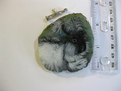 angora rabbit brooch/pendant on agate