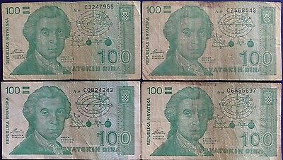 Croatia 100 Dinar Banknote Lot of 4