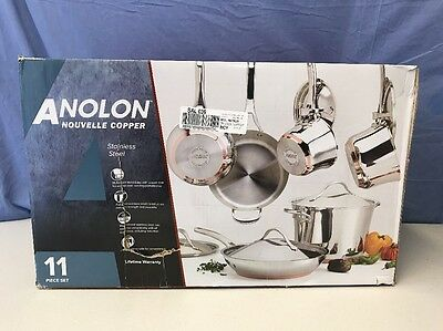 Anolon 11-Piece Nouvelle Copper Stainless Steel Cookware Set New