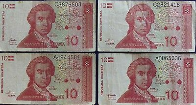 Croatia 10 Dinar Banknote Lot of 4