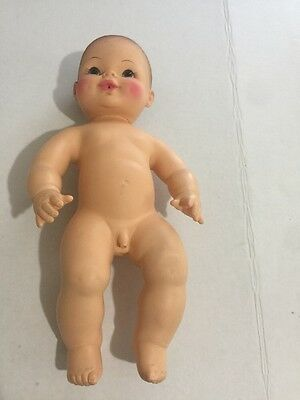 "RARE Horsman Anatomically Correct 13"" Soft Vinyl Baby Boy Doll Drinks Wets 1976"