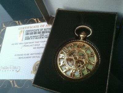 24ct Gold Plated Dial Pacifistor Antique Mechanical Pocket Watch Gift Boxed 24k