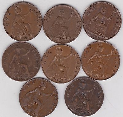 8 Pennies 1911/1916/1919/1921/1922/1936/1937 & 1946 In Very Fine Condition