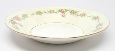 Homer Laughlin - HLC 1082 Eggshell Georgian - Rim Soup Bowl Pink & Yellow Roses