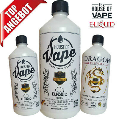 E Liquid Base 0mg 3mg 6mg 9mg 12mg Nikotin Eliquid E-Liquid E-Zigarette 1000ml
