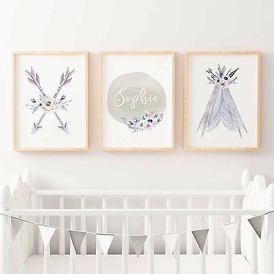 Baby, Girls Boho Tribal Nursery or Bedroom Wall Art Decor Print Set-Personalise