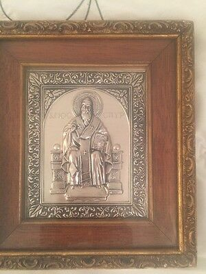 Greek Orthodox Silver Picture Of Saint Antique