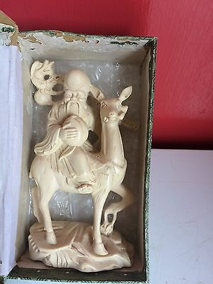 Antique Oriental Ivory lookalike  Figure Riding a Lama, 6 inches high. Boxed