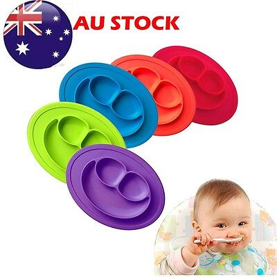 Cute One-Piece Silicone Placemat+Plate Dish Food Table Mat Baby Toddler Kids AU