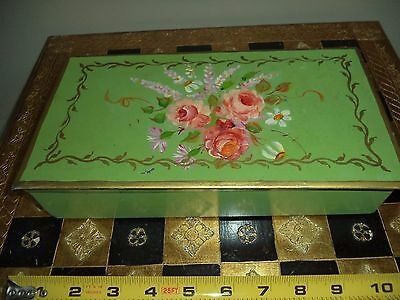 Antique Metal Tole Toleware Hand Painted Roses floral Shabby Chic Hinged Box