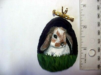 lop eared rabbit brooch/pendant on agate