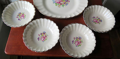 1930 Set 5 Pieces Leigh Ware Leigh Potters USA 1 Platter+4 Bowls Ribbed Rims VTG