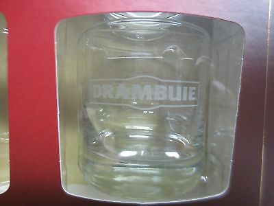 """Two Drambuie Rocks Glasses 3.5"""" Weighted Base - Clear with White Frosted Logos"""