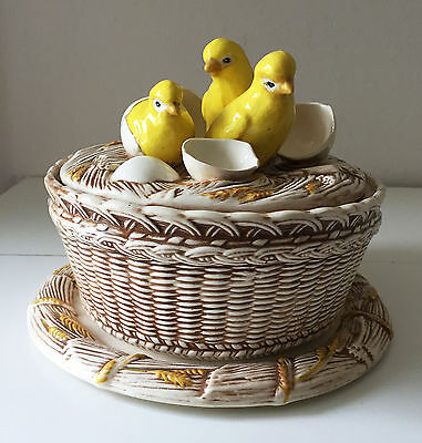 French Country Kitchen Ceramic Hatched Chicks on Basket Covered Dish & Tray