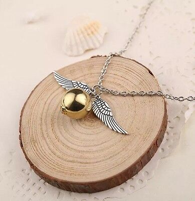 """Harry Potter Snitch Pendant Necklace Gold & Silver 1"""" Chain 20"""" US Seller"""