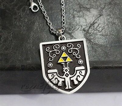 "The Legend of Zelda Link Shield 2"" Metal Pendant Necklace Chain US Seller"