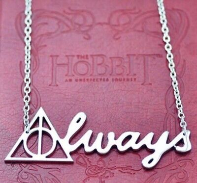 """Harry Potter Deathly Hallows Always Necklace Pendant Silver 3"""" US Seller"""