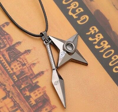 Naruto Kunai Shuriken Necklace Pendant Anime Cosplay 6cm US Seller