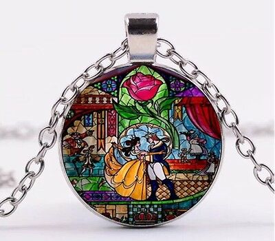 "Disney Beauty And The Beast Stained Glass Cabochon Necklace Silver 18"" US Seller"
