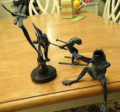 Lot Of 3  Unique Spi Metal Frogs::singing, Skiing, & Dragonfly Frog.. Rare!!!