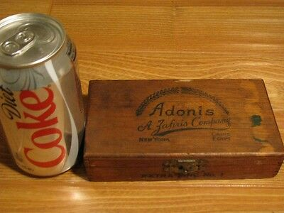 Rare Antique Adonis Wood Cigar Box - Caire Egypt W/ New York Tax Stamp Label