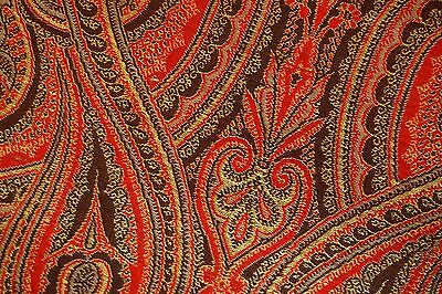 Antique European Silk Paisley Shawl Double Sided Square Tapestry Textile VINTAGE