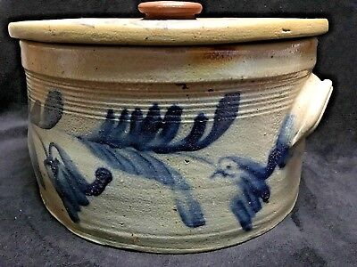 Stoneware Cake Pan Blue Hummingbirds & Tulip Flowers original top Pennsylvania!