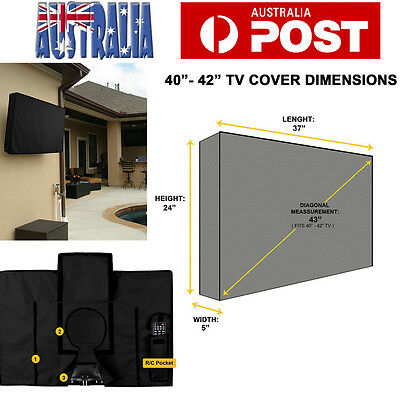 40-42 inch Waterproof TV Cover Outdoor Patio Flat Television Protector Black
