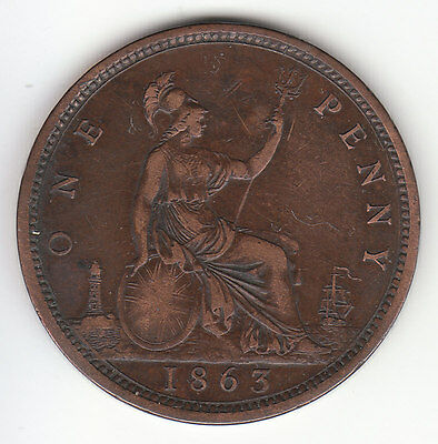 1863 Great Britain Queen Victoria 1 One Penny.