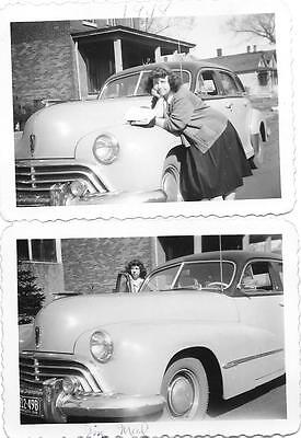 2 Vintage Old 1940's Photos Woman Stands Next to OLDSMOBILE Car Minnesota Plates