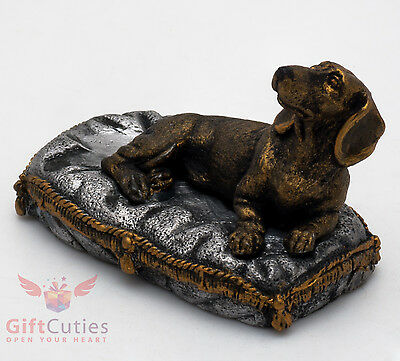 Tin Pewter Figurine of Dachshund on a pillow Dog IronWork