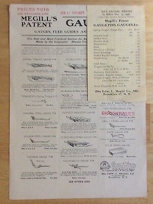 *MEGILL's GAUGE PINS* 1950 SALESMAN product sheet and price sheet