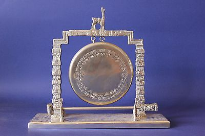 Antique vintage silver plated dinner gong, signed.