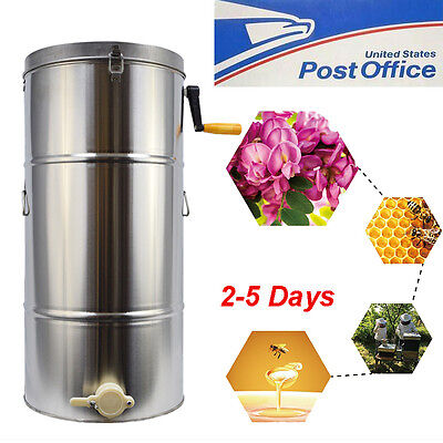 New 2 Frame Stainless Steel Honey Extractor Spinner Honeycomb Beekeeping 28*16''