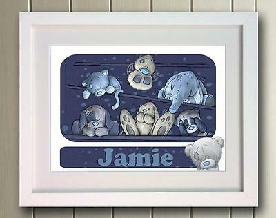 Personalised Blue Nose Bear Picture Poster Print Photo Gift Art Name nursery