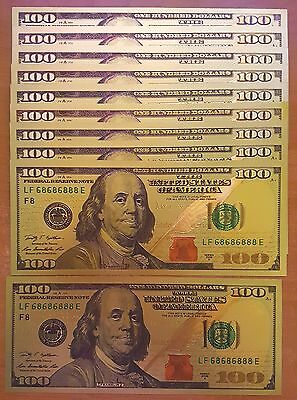 10 PACK - 24K .999 Pure Gold NEW SERIES 100 Dollar Bill Bank Note - BU Condition