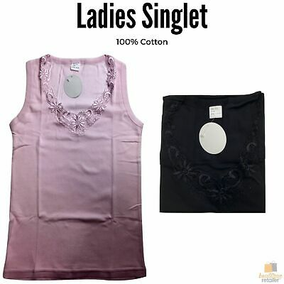 Ladies Singlet Top Women's Summer Basic Tank Shirt Lace Motif Front Under GW0102
