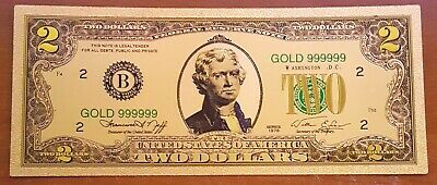 10 PACK of 24K .999 Pure Gold Colorized $2 Dollar Bill Bank Note - BU Condition!
