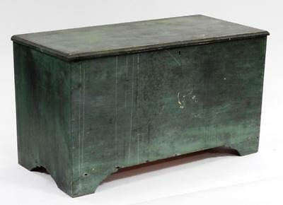 LARGE New England Green Painted Pine Blanket Chest Lot 236