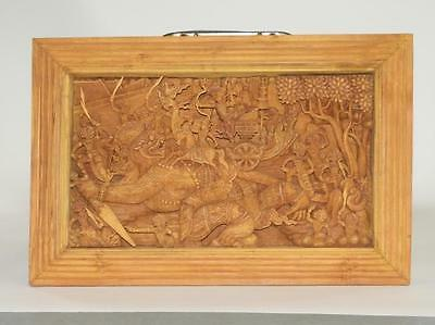 Thai SE Asian Carved Hardwood Relief Plaque Lot 303