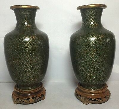 Vintage Pair of Fine Chinese Green Cloisonne Dragon Scale Vases on Stands 50's