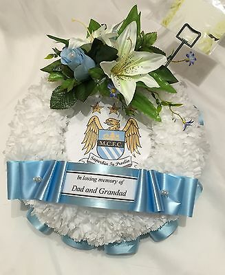 Artificial Funeral Flower Football Silk Wreath Tribute Memorial Fathers Day