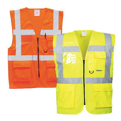 Portwest Berlin executive hi vis vest with multi pockets and ID holder S476