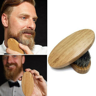 Men Boar Hair Bristle Beard Mustache Brush Military Hard Round Wood Handle Hot