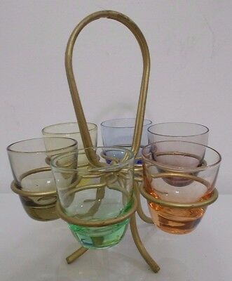 Vintage Shot Glass Stand with 6 Different Color Shot Glasses