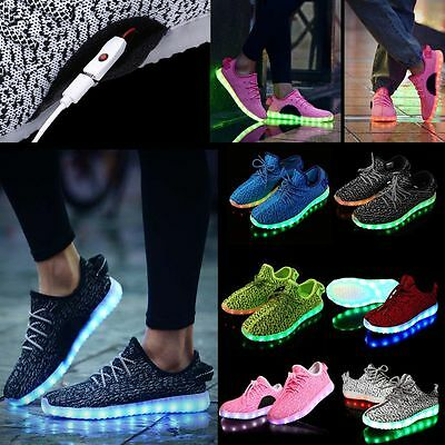 Adult Kid Fashion Casual LED Luminous Light up Shoes Sportwear Unisex Sneaker AU